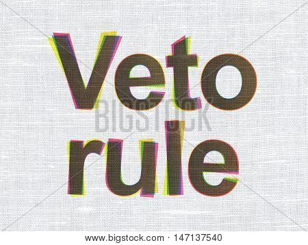Politics concept: CMYK Veto Rule on linen fabric texture background