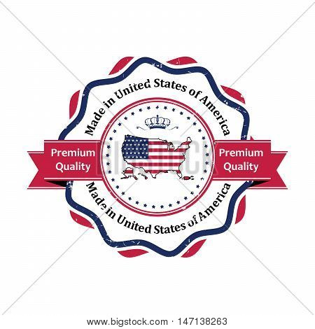 Made in USA, Premium Quality elegant grunge label / stamp. Contains the map and the flag of the United States of America. Print colors used