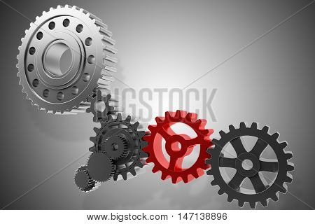 3D Rendering mechanism of gears connected to each other