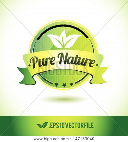 Pure nature badge label seal text tag word stamp logo design green leaf template vector eps