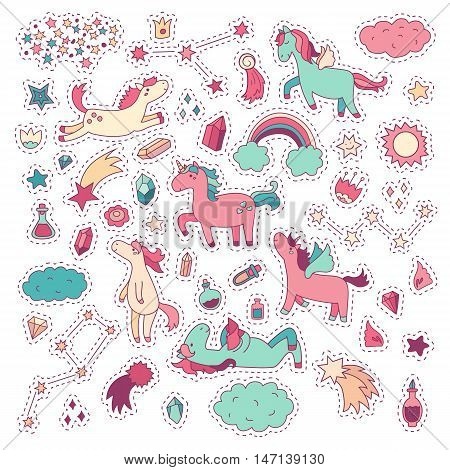 Unicorn and pony collection with magic items rainbow fairy wings crystals clouds potion. Vector hand drawn cute and funny stickers kit. Modern doodle sketch badges and pins.
