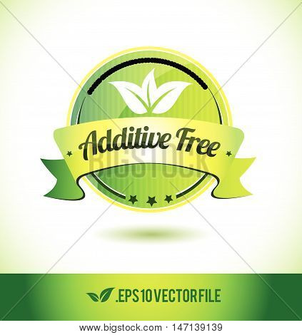 Additive free badge label seal text tag word stamp logo design green leaf template vector eps