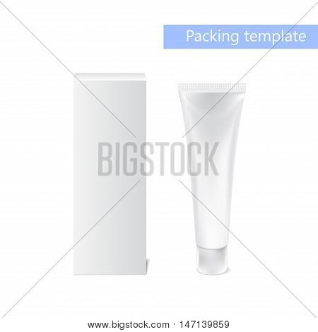 Realistic white tube and packaging. Tubes For Cosmetics Or Artistic Paint, Creams, Toothpaste, Gel, Sauce, Paint, Glue, Ointments, Lotions, Medicines. Vector. Separate elements