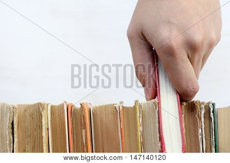 hand with red book in the library / necessary literature for education