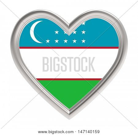 Uzbek flag in silver heart isolated on white background. 3D illustration.