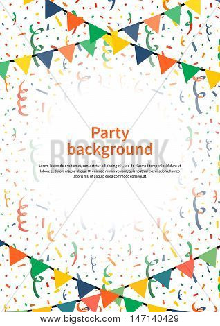 Party background with buntings garlands and confetti on white, a4 size vertical illustration