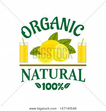 Natural organic lemon fruit poster. Citrus fruits vector icon for juice bottle sticker, grocery, farm store, packaging and advertising