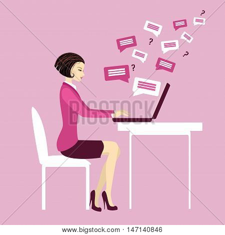 Office worker or business woman. Working On laptop .Communication via computer.Cartoon vector illustration