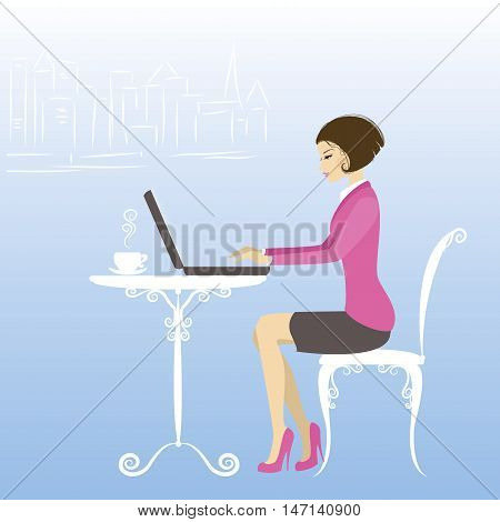 Office worker or business woman. Working On laptop Computer.Cartoon vector illustration