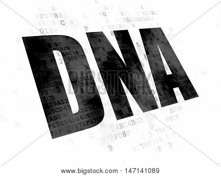 Healthcare concept: Pixelated black text DNA on Digital background