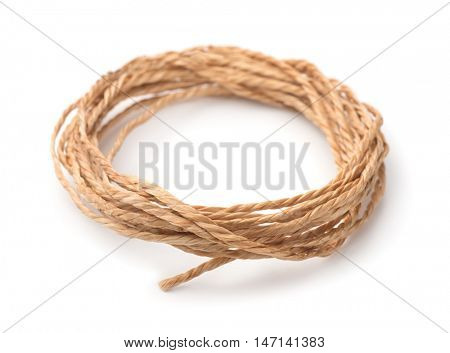 Skein of natural twine isolated on white