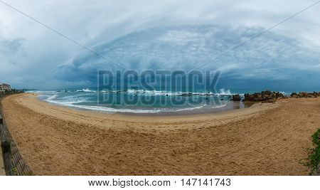 Panorama of tidal pool and beach at Umdloti Kwazulu Natal South Africa - sand with foot steps