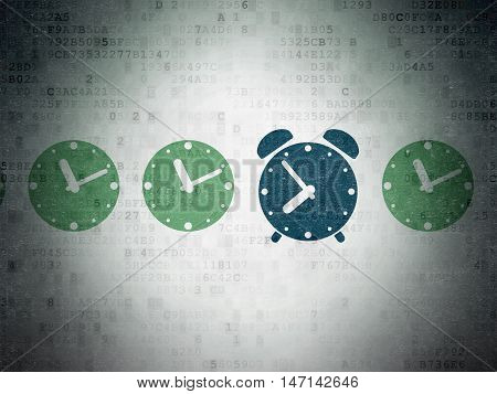 Timeline concept: row of Painted green clock icons around blue alarm clock icon on Digital Data Paper background