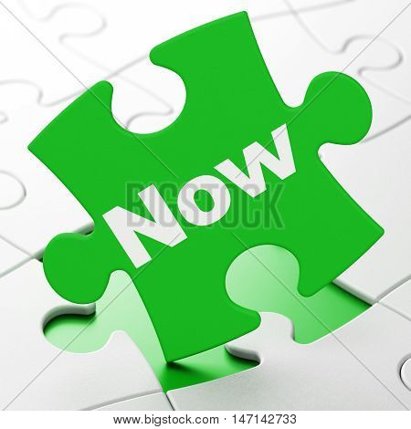 Timeline concept: Now on Green puzzle pieces background, 3D rendering