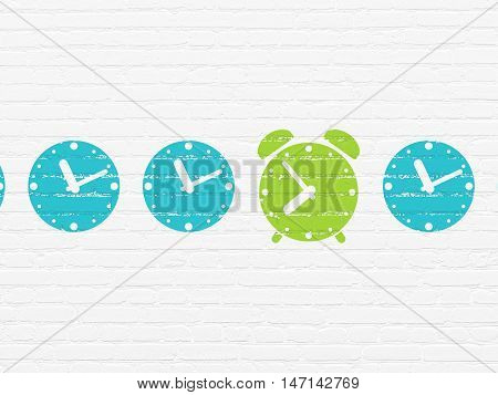 Time concept: row of Painted blue clock icons around green alarm clock icon on White Brick wall background