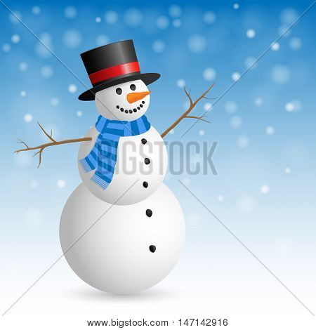 Christmas Greeting Card with snowman. Vector illustration.