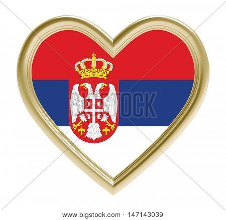 Serbian flag in golden heart isolated on white background. 3D illustration.