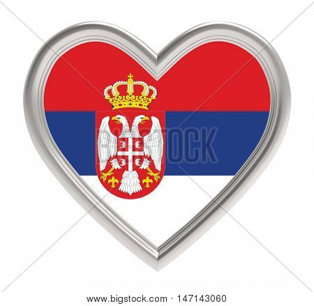 Serbian flag in silver heart isolated on white background. 3D illustration.