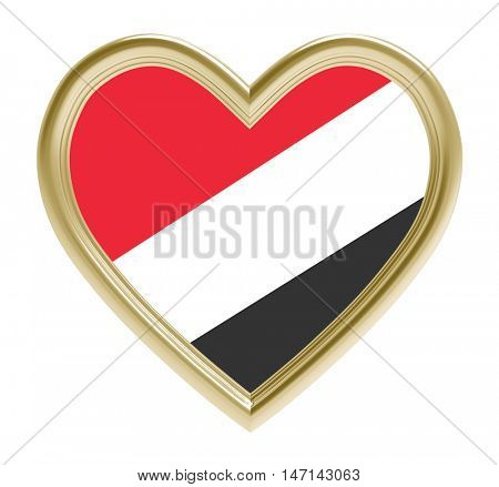 Sealand flag in golden heart isolated on white background. 3D illustration.