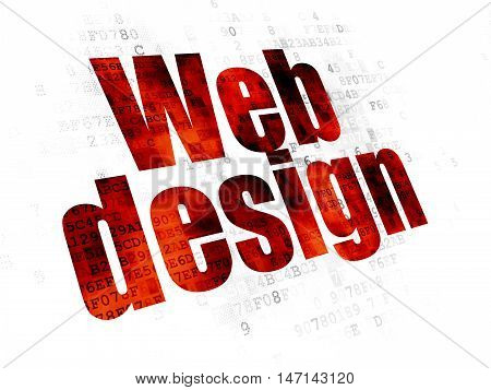 Web design concept: Pixelated red text Web Design on Digital background
