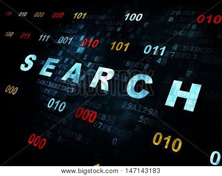 Web design concept: Pixelated blue text Search on Digital wall background with Binary Code