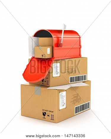 red mailbox on cartons. 3d illustration   isolated on a white background
