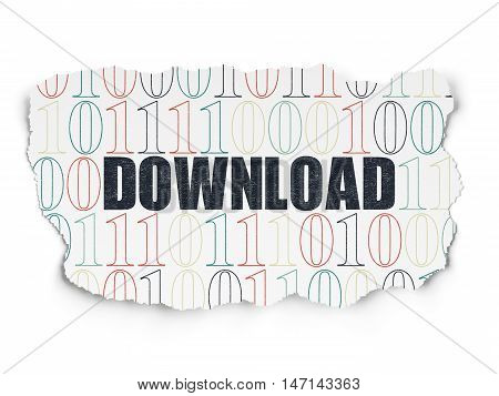 Web design concept: Painted black text Download on Torn Paper background with  Binary Code