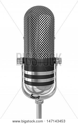Old chrome microphone isolated 3d illustration black and white