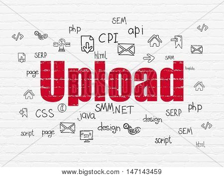 Web development concept: Painted red text Upload on White Brick wall background with  Hand Drawn Site Development Icons