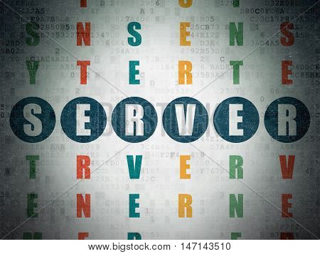 Web development concept: Painted blue word Server in solving Crossword Puzzle on Digital Data Paper background