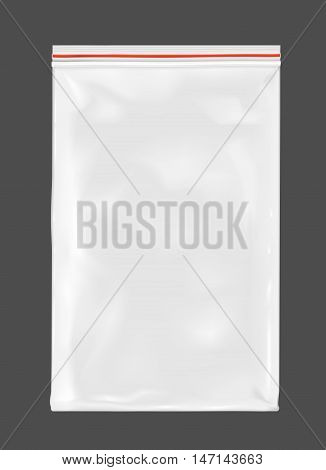 White empty plastic packaging with zipper. Mock up