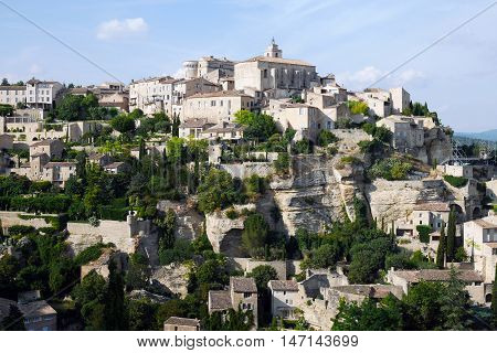 beautiful mountain village gordes in france, provence