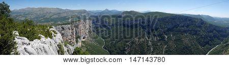 Panorama overviewing the gordes du verdon, france
