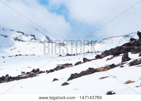 White Snow Mountains In Tongariro National Park