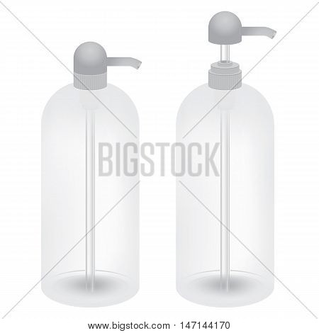 Plastic bottle with dispenser isolated on white background.