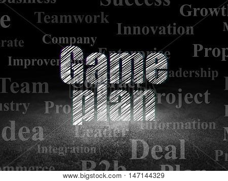 Business concept: Glowing text Game Plan in grunge dark room with Dirty Floor, black background with  Tag Cloud