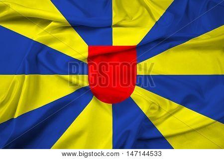 Waving Flag Of West Flanders Province, Belgium