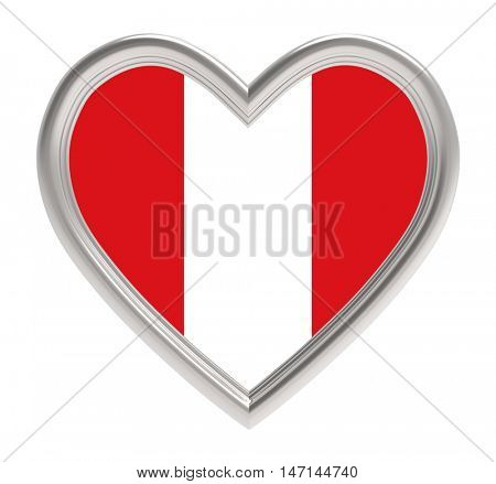 Peruvian flag in silver heart isolated on white background. 3D illustration.