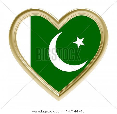 Pakistani flag in golden heart isolated on white background. 3D illustration.