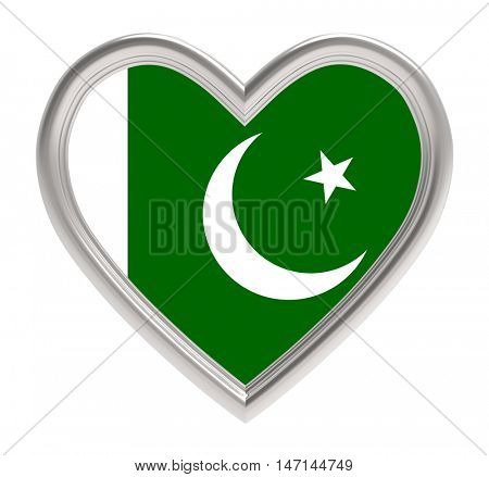 Pakistani flag in silver heart isolated on white background. 3D illustration.
