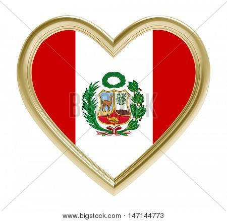 Peruvian flag in golden heart isolated on white background. 3D illustration.