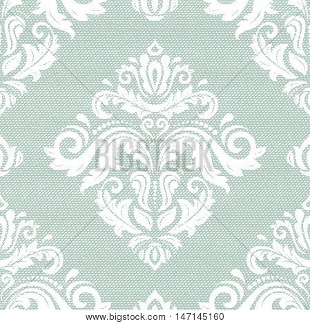 Seamless baroque vector light blue and white pattern. Traditional classic orient ornament