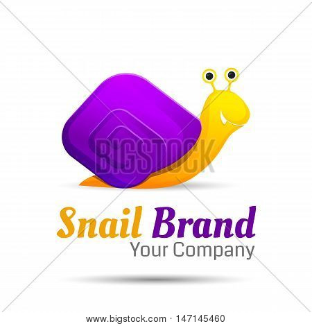 Colored stylized snail logo icon style. Vector creative colorful abstract design illustration. Template for your business company.