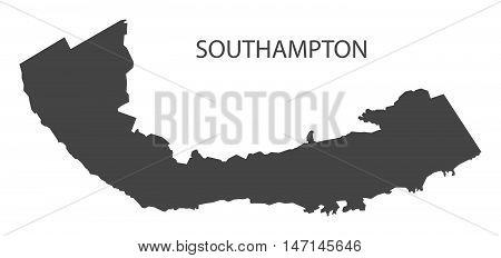 Southampton Bermuda Map in grey vector high res