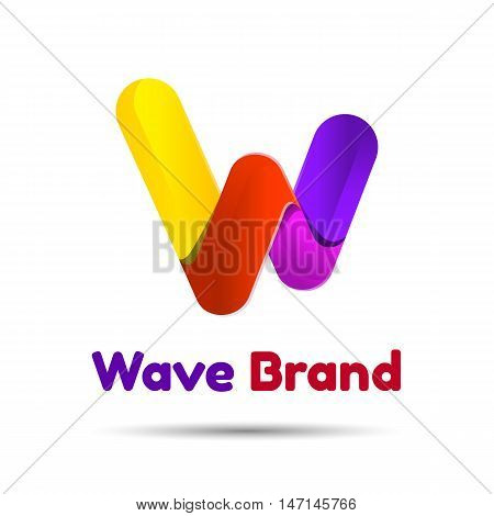 Logo W letter. Isolated on white background. Vector illustration, Creative colorful abstract design template for your business company.
