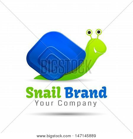 Speedy snail concept of achieving success, illustration, vector Creative colorful abstract logo design. Template for your business company.
