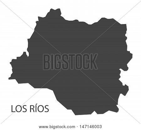 Los Rios Chile Map in grey vector high res