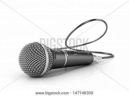 Microphone isolated on the white background. Speaker concept. 3d illustration