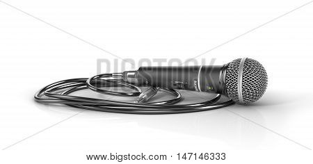 Microphone with cable isolated on the white background. Speaker concept. 3d illustration