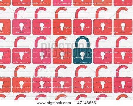 Privacy concept: rows of Painted red opened padlock icons around blue closed padlock icon on White Brick wall background